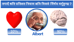 तपाईं कति प्रतिशत दिमाग अनि दिल ले निर्णय गर्नुहुन्छ ?